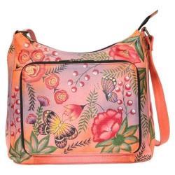 Women's ANNA by Anuschka Hand Painted Large Organizer Handbag 8178 Summer Garden