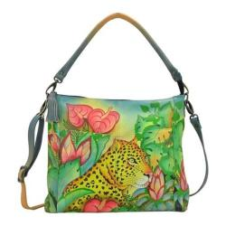Women's ANNA by Anuschka Hand Painted Leather Convertible Shoulder Bag 8188 Jungle Leopard