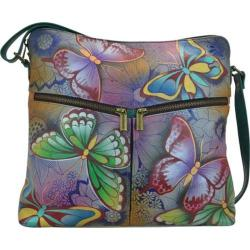Women's ANNA by Anuschka Hand Painted Leather Shoulder Bag 8202 Butterfly Paradise