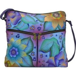 Women's ANNA by Anuschka Hand Painted Leather Shoulder Bag 8202 Tropical Safari