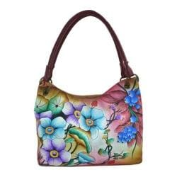 Women's ANNA by Anuschka Hand Painted Medium Magnetic Satchel 8091 Floral Berries