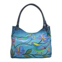 Women's ANNA by Anuschka Hand Painted Medium Magnetic Satchel 8091 Lonesome Bird Denim