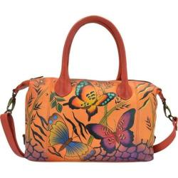 Women's ANNA by Anuschka Hand Painted Medium Satchel 8210 Animal Butterfly Tan