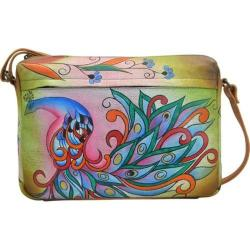 Women's ANNA by Anuschka Hand Painted Medium Shoulder Bag 8099 Royal Peacock