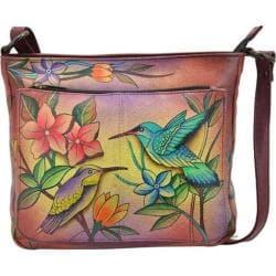 Women's ANNA by Anuschka Hand Painted Shoulder Bag 8207 Birds in Paradise