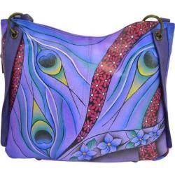 Women's ANNA by Anuschka Hand Painted Shoulder Bag 8211 Dreamy Peacock Dewberry