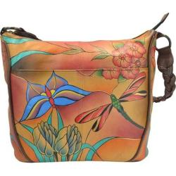 Women's ANNA by Anuschka Hand Painted Shoulder Hobo Bag 8220 Jewelled Wing