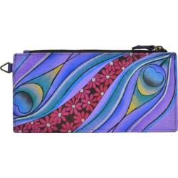 Women's ANNA by Anuschka Leather Credit Card Organizer/Wallet 1713 Dreamy Peacock Dewberry