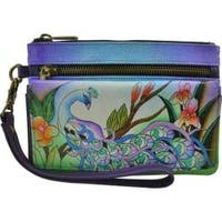 Women's ANNA by Anuschka Hand Painted Wristlet Organizer Wallet 1838 Midnight Peacock