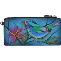 Women's ANNA by Anuschka Leather Credit Card Organizer/Wallet 1713 Lonesome Bird Denim
