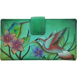 Women's ANNA by Anuschka Leather Two Fold Organizer Wallet 1833 Birds In Paradise Green