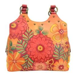 Women's ANNA by Anuschka Triple Compartment Medium Satchel 8160 Summer Bloom