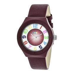 Men's Crayo Atomic Quartz Watch Maroon Leather/Maroon