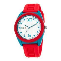Men's Crayo Praise Quartz Watch Red Silicone/Silver