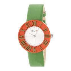 Men's Crayo Prestige Quartz Watch Green Polyurethane/Silver