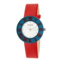 Men's Crayo Prestige Quartz Watch Red Polyurethane/Silver