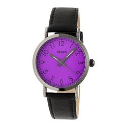 Men's Crayo Pride Quartz Watch Black Leather/Purple