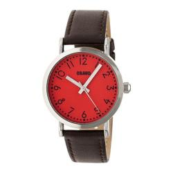 Men's Crayo Pride Quartz Watch Brown Leather/Red