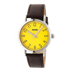 Men's Crayo Pride Quartz Watch Brown Leather/Yellow