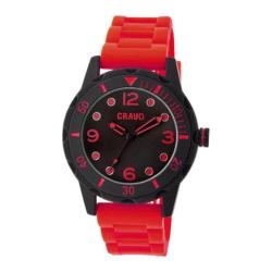 Men's Crayo Splash Quartz Watch Red Silicone/Black