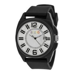 Men's Crayo Sunset Quartz Watch Black Silicone/White