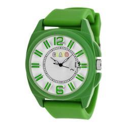Men's Crayo Sunset Quartz Watch Green Silicone/White