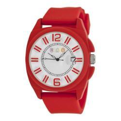 Men's Crayo Sunset Quartz Watch Red Silicone/White