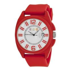 Men's Crayo Sunset Quartz Watch Red Silicone/White