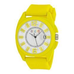 Men's Crayo Sunset Quartz Watch Yellow Silicone/White