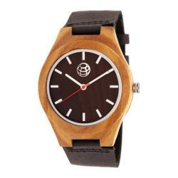 Men's Earth Watches Aztec Quartz Watch Black Leather/Dark Brown