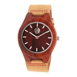 Men's Earth Watches Aztec Quartz Watch Camel Leather/Red