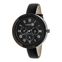 Women's Earth Watches Brush Ladies Quartz Watch Black Leather/Dark Brown