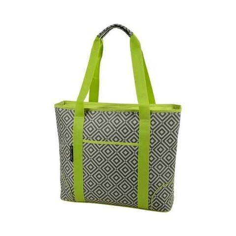 Picnic at Ascot Extra Large Insulated Tote Diamond Granite Grey/Green
