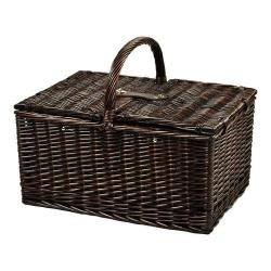 Picnic at Ascot Buckingham Basket for Four with Coffee Brown Wicker/Diamond Orange