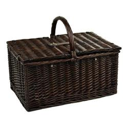 Picnic at Ascot Surrey Picnic Basket for Two with Blanket/Coffee Brown Wicker/Diamond Orange
