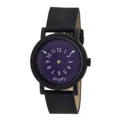 Men's Simplify The 2300 Quartz Watch Black Leather/Plum