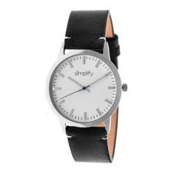 Men's Simplify The 2800 Quartz Watch Black Leather/White