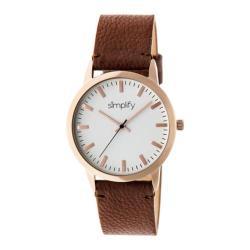 Men's Simplify The 2800 Quartz Watch Brown Leather/White