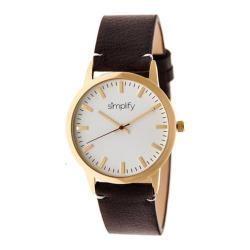 Men's Simplify The 2800 Quartz Watch Dark Brown Leather/White