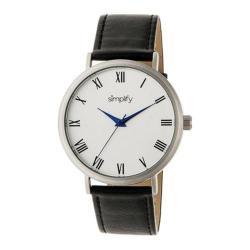 Men's Simplify The 2900 Quartz Watch Black Leather/Silver