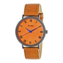 Men's Simplify The 2900 Quartz Watch Orange Leather/Orange