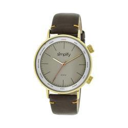 Men's Simplify The 3300 Quartz Watch Dark Brown Leather/Grey