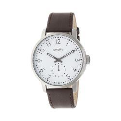 Men's Simplify The 3400 Quartz Watch Dark Brown Leather/White