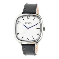 Men's Simplify The 3500 Quartz Watch Charcoal Leather/Silver