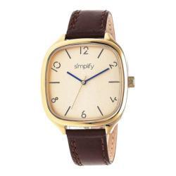 Men's Simplify The 3500 Quartz Watch Dark Brown Leather/Gold