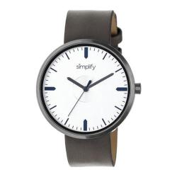 Men's Simplify The 4500 Quartz Watch Pewter Leather/Silver