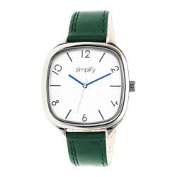 Men's Simplify The 3500 Quartz Watch Forest Green Leather/Silver