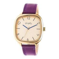 Men's Simplify The 3500 Quartz Watch Plum Leather/Gold