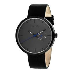 Men's Simplify The 3900 Quartz Watch Black Leather/Charcoal
