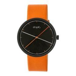 Men's Simplify The 4100 Quartz Watch Orange Leather/Black